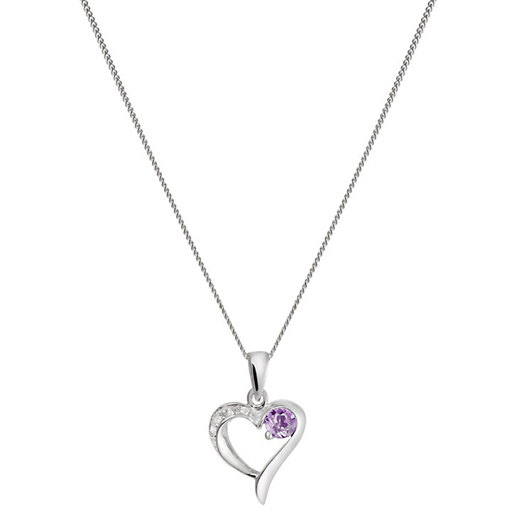 Sterling Silver Cubic Zirconia & Amethyst Heart Pendant - Product number 1361910