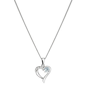 Sterling Silver Cubic Zirconia & Blue Topaz Heart Pendant - Product number 1361929