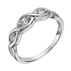 Sterling Silver Three Stone Cubic Zirconia Crossover Ring P - Product number 1362062