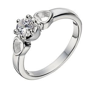 Sterling Silver Zirconia Solitaire & Hearts Ring - Size N - Product number 1362097