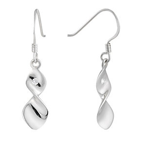 Sterling Silver Cubic Zirconia Twist Earrings - Product number 1362127