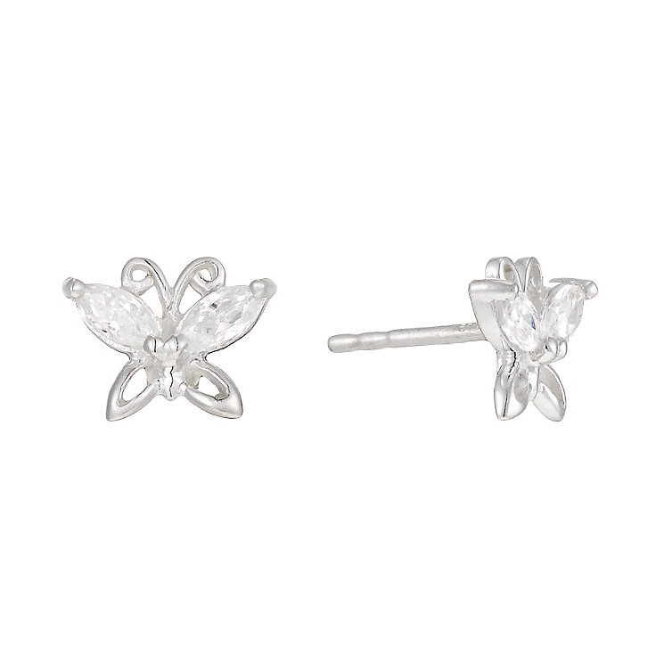 Silver Cubic Zirconia Butterfly Stud Earrings - Product number 1362135