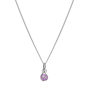 Sterling Silver Amethyst Knot Pendant - Product number 1362178