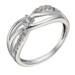 Sterling Silver Cubic Zirconia Crossover Ring - Size N - Product number 1362240