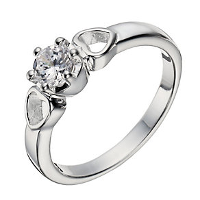 Sterling Silver Zirconia Solitaire & Hearts Ring - Size L - Product number 1362275