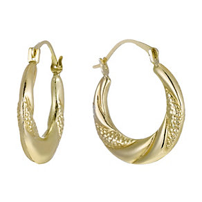 Together Bonded Silver & 9ct Gold Creole Earrings - Product number 1362305