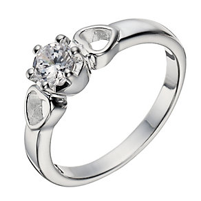 Sterling Silver Zirconia Solitaire & Hearts Ring - Size P - Product number 1362321