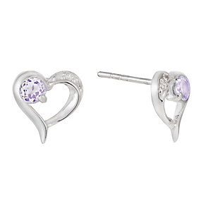 Silver Cubic Zirconia Amethyst Heart Stud Earrings - Product number 1362380