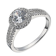 Sterling Silver Cubic Zirconia Halo Ring Size L - Product number 1362526
