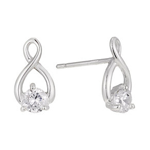 Silver & Cubic Zirconia Figure of Eight Stud Earrings - Product number 1362712