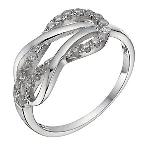 Sterling Silver Cubic Zirconia Knot Ring - Size P - Product number 1363441