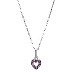 Sterling Silver Children's Pink Crystal Heart Pendant 14