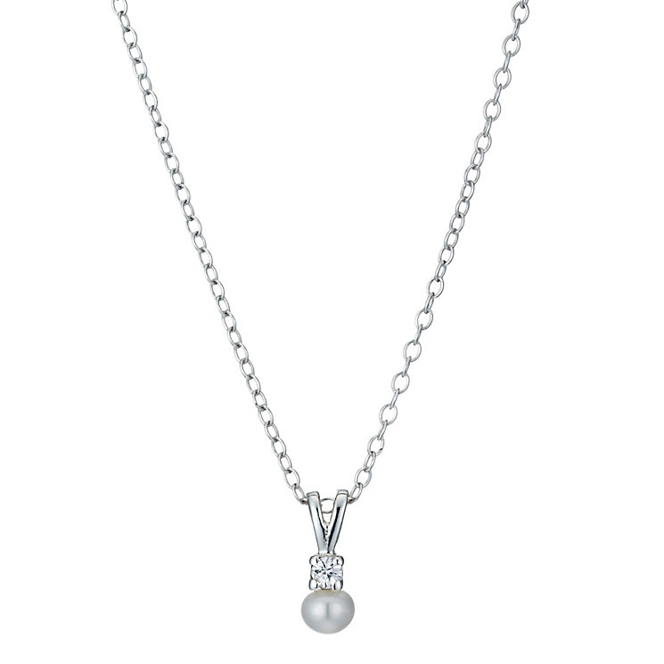 """Sterling Silver Children's Freshwater Pearl 14"""" Pendant - Product number 1363549"""