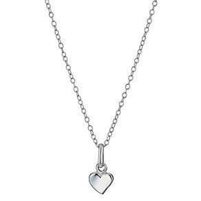 "Sterling Silver Children's Plain Heart Pendant 14"" - Product number 1363743"