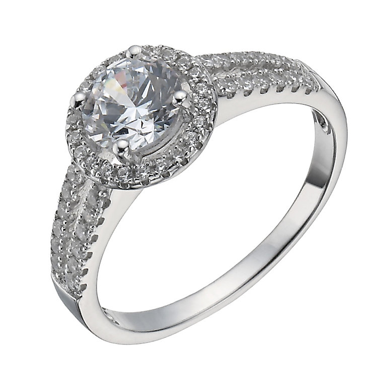 Sterling Silver Cubic Zirconia Halo Ring Size N - Product number 1363999