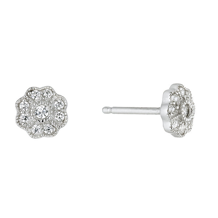 Sterling Silver Cubic Zirconia Flower Stud Earrings - Product number 1364057