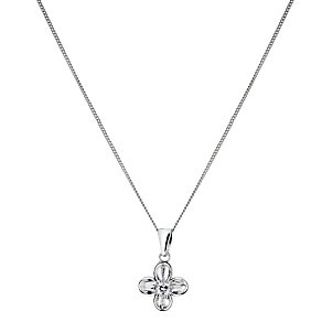 Sterling Silver Cubic Zirconia Flower Pendant - Product number 1364073