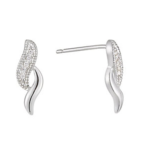Silver & Cubic Zirconia Double Wave Stud Earrings - Product number 1364200