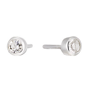 Sterling Silver Children's Crystal Set Round Stud Earrings - Product number 1364219