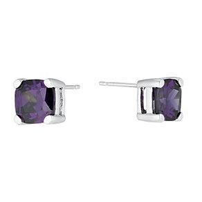 Sterling Silver & Purple Cubic Zirconia Stud Earrings - Product number 1364316