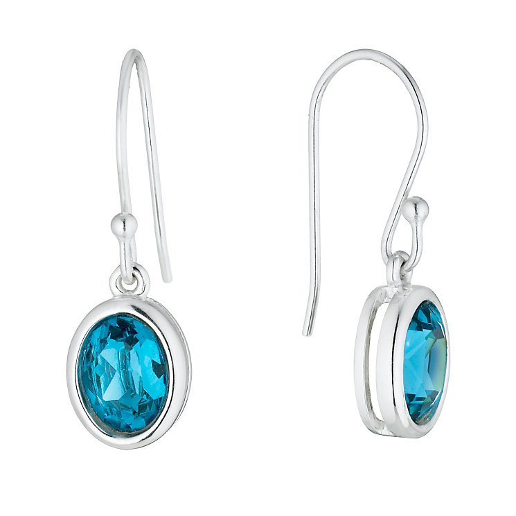 Sterling Silver Teal Crystal Drop Earrings - Product number 1364324