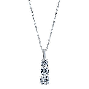 Sterling Silver Cubic Zirconia Three Stone Pendant - Product number 1364448