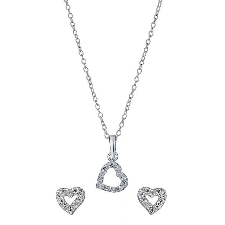 Sterling Silver Children's Zirconia Heart Pendant & Earrings - Product number 1364596