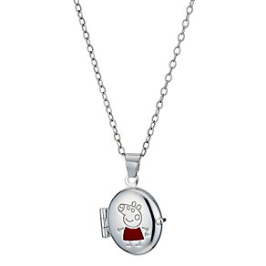 "Sterling Silver Children's Enamel Peppa Pig Locket 14"" - Product number 1364650"