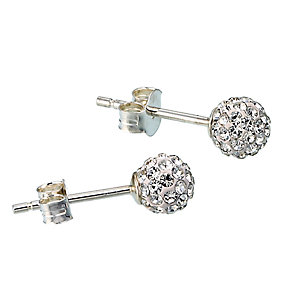 Sterling Silver Crystal Glitter Ball Stud Earrings - Product number 1364820