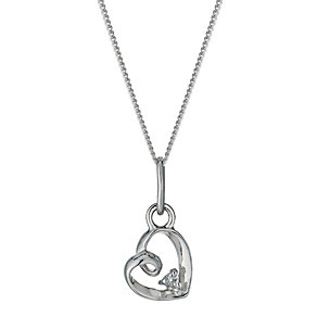 Sterling Silver & Cubic Zirconia Loop Heart Pendant Necklace - Product number 1364863