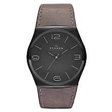 Skagen Men's Black Dial Brown Leather Strap Watch - Product number 1364995