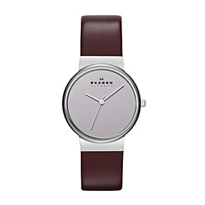 Skagen Ladies' Burgundy Leather Strap Watch - Product number 1365029