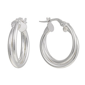 Silver Double Hoop Creoles - Product number 1365061
