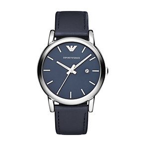 Emporio Armani men's stainless steel blue strap watch - Product number 1365150
