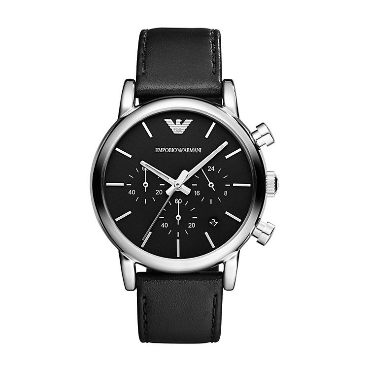Emporio Armani Men's Stainless Steel Black Strap Watch - Product number 1365169