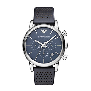 Emporio Armani men's stainless steel blue strap watch - Product number 1365185
