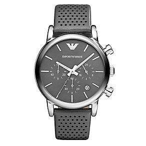 Emporio Armani men's stainless steel grey strap watch - Product number 1365193