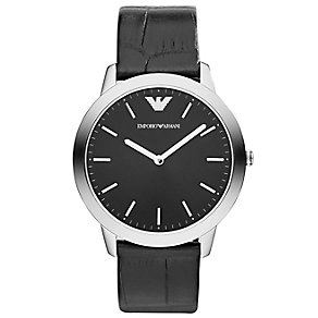 Emporio Armani men's stainless steel leather strap watch - Product number 1365290