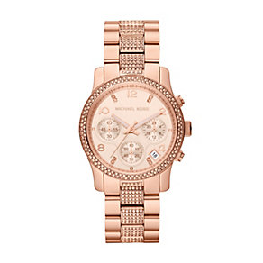 Michael Kors ladies' crystal rose gold-plated bracelet watch - Product number 1365967