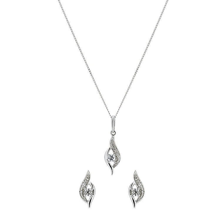 9ct White Gold Cubic Zirconia Swirl Pendant & Earrings Set - Product number 1366963