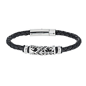 Unique stainless steel black leather bracelet - Product number 1368079