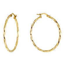 Together Bonded Silver & 9ct Gold Twisted Creole Earrings - Product number 1368109