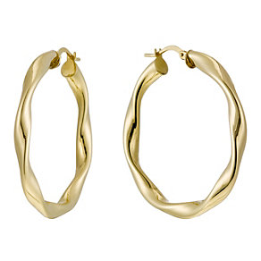 Together Bonded Silver & 9ct Gold Twisted Creole Earrings - Product number 1368117