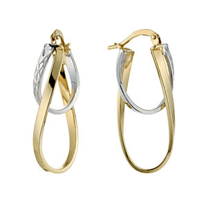 Together Bonded Silver & 9ct Gold Double Creole Earrings - Product number 1368141