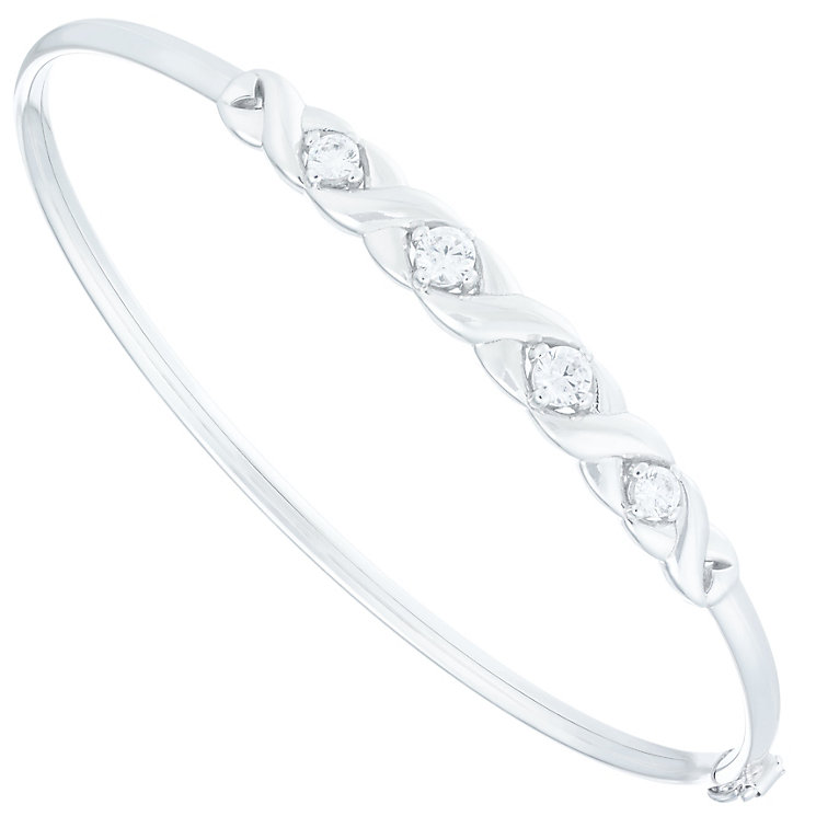 Silver and Rhodium Plated Cubiz Zirconia Bangle - Product number 1368311