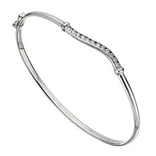 Silver Cubic Zirconia Wave Bangle - Product number 1368338