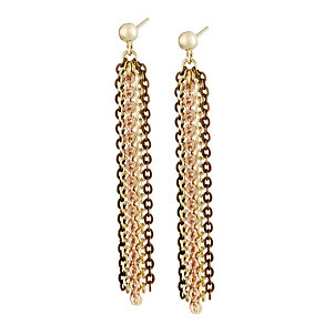 Oxi Colour Silver & Gold-Plated Three Tone Drop Earrings - Product number 1368435