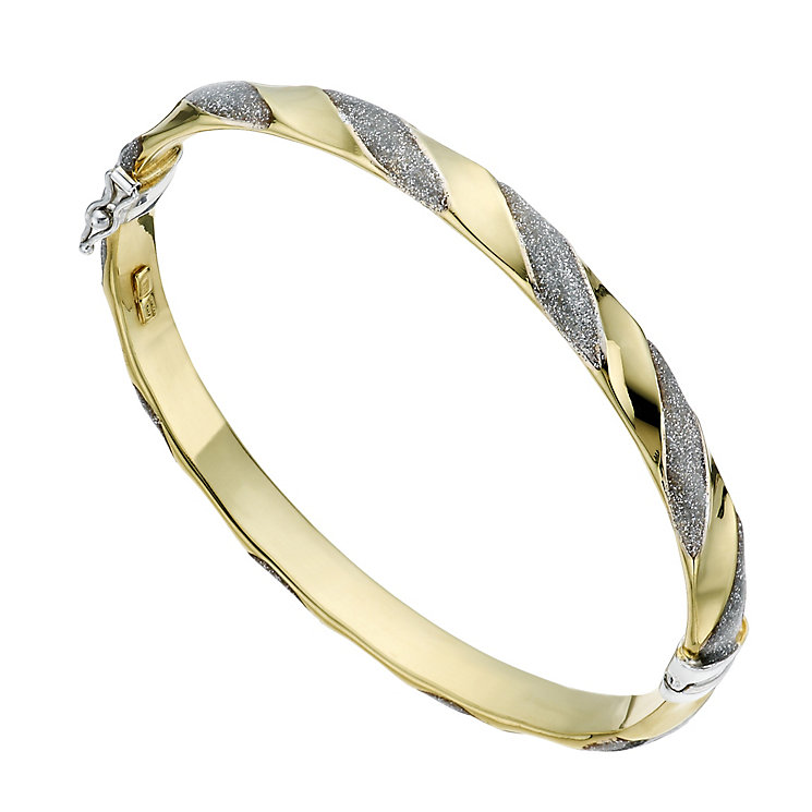 Together Bonded Silver & 9ct Gold Patterned Bangle - Product number 1368575