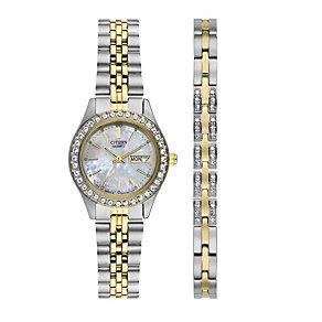 Citizen Ladies' Two Colour Stone Set Watch & Bracelet Set - Product number 1370480