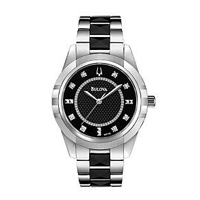 Bulova Ladies' Black Ceramic Link Bracelet Watch - Product number 1370677